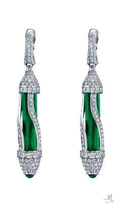 Robert Procop Colombian Emerald & Diamond Drop Earrings