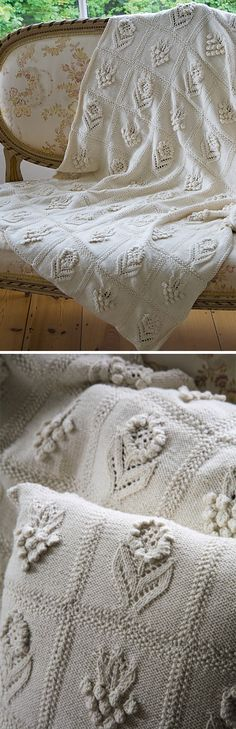 Knitting pattern for Herbaceous Afghan Throw Blanket by Martin Storey with textured plant and flower designs See more pics at Deramores (affliate link) tba