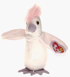 KUKU TY Beanie Baby White Pink Cockatoo bird #Ty