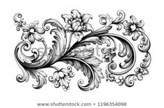 Flower vintage scroll Baroque Victorian frame border rose peony floral ornament leaf engraved retro pattern decorative design tattoo black and white filigree calligraphic vector Baroque Frame, Victorian Frame, Victorian Tattoo, Flower Tattoo Designs, Flower Tattoos, Filigree Tattoo, Peonies Tattoo, Scroll Pattern, Carving Designs