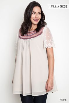 Embroidered Baby Doll Dress - Taupe - Curvy