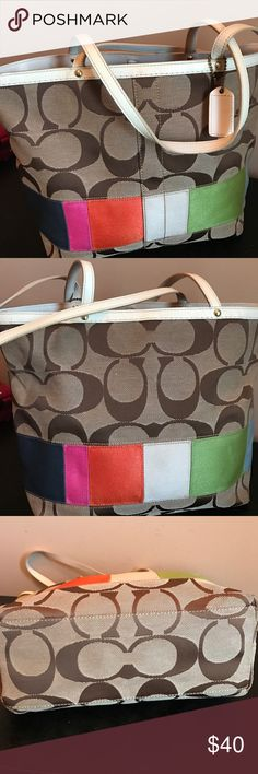 Multicolor Coach purse Beautiful Coach logo tote with embroidered, multicolor band. Was used but very well taken care of! Only stain is a small ink stain on strap. No marks or stains on fabric. Beautiful bag! Coach Bags Shoulder Bags