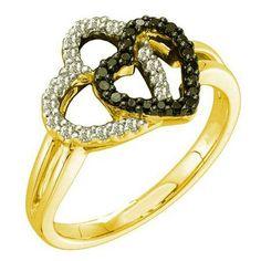 Thanks for Sharing!  0.27 Carat (ctw) 14k Yellow Gold Round Black & White Diamond Ladies Double Heart Promise Ring - Dazzling Rock #https://www.pinterest.com/dazzlingrock/