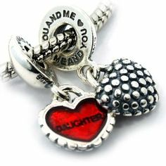 """.925 Sterling Silver """" 1 Pair of Piece of My Heart (Mother Daughter) w/ Stamp """" Dangle Charms Compatible with Pandora Chamilia Kay Troll Bracelet Pro Jewelry. $39.95"""