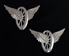 Motorcycle Wheel with Wings Insignia Metal Silver Finish (Pair) Uniform Insignia, Masonic Jewelry, Motorcycle Wheels, Knights Templar, Wall Wallpaper, Lapel Pins, Solid Brass, Plating, Wings