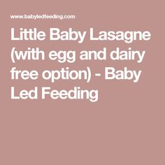 Little Baby Lasagne (with egg and dairy free option) - Baby Led Feeding