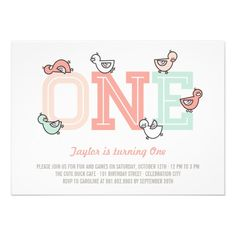 Cute Ducks Duckies Ducklings Big One Baby Girl 1st Birthday Party Photo Invite Invitation by fatfatin - pink + mint