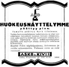 Huokeusnäyttelymme päättyy pian - Askon vanha lehtimainos vuodelta 1933