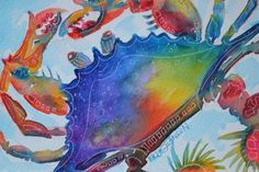 Blue Crab Vibrant Water Color Crab Painting by ErikaJohnsonGallery, $35.00