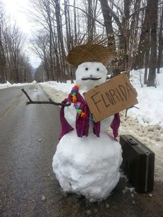 Snowman Hitchhiker with sign to Florida- going to need it this year.