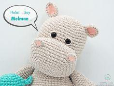 Amigurumi Pattern: The hippopotamus Melman and his friend Pi - Tarturumies Crochet Hippo, Crochet Amigurumi Free Patterns, Easy Crochet Patterns, Cute Crochet, Crochet Animals, Hippopotamus, Stuffed Animal Patterns, Amigurumi Doll, Crochet Projects