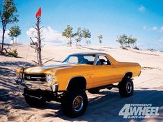 One more to build before I go Lifted el camino Jacked Up Trucks, Lifted Cars, 4x4 Trucks, Cool Trucks, Chevy Trucks, Rat Rods, Cheap Race Cars, General Motors, Volkswagen