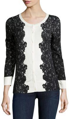 Neiman Marcus Bracelet-Sleeve Lace-Print Cardigan, #Ivory #Black #fashion #cardigan