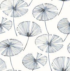 Paradise Navy Fronds 2656 004025 Wallpaper