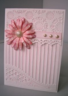 Card made by inking up embossing folders.