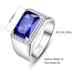BONLAVIE 925 Sterling Silver Created Blue Sapphire September Birthstone  Mens Wedding Band Size 14 -- You can find out more details at the link of  the image. 33231204262