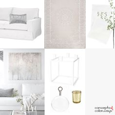 light neutral interior mood board, taupe, mauve, pale gray, gray, purplish-gray, spring green, modern candelabra, light gold accents, clear glass, white knit blanket, white slipcovered sofa, interior styling ideas, interior design inspiration