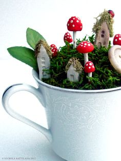 Fairy town in a teacup by PixieHillStudio on Etsy