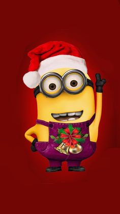 Despicable Me minion with Christmas hat iphone 6 wallpaper for 2014 Halloween