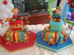 Torta, Cake, pastel de cumpleaños con payasitos. Clown, Circus party http://antonelladipietro.com.ar/blog/2012/03/payasos-en-el-cumple/