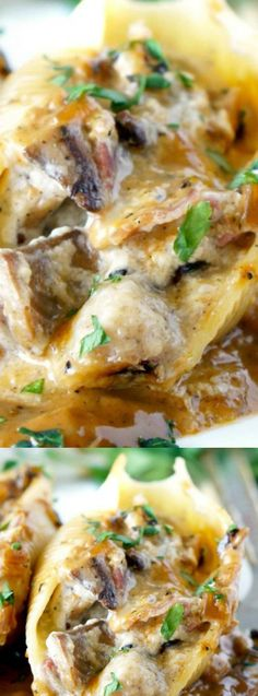 These Chicken Marsala Stuffed Shells with Creamy Marsala Sauce from Food, Folks, and Fun are perfect for parties and family dinners. They are everything you love about he classic dish in a delectable stuffed shell!