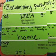 "Housewarming party invites on paint chips. ""We moved into our new house but it will take friends and family to make it a home!"""