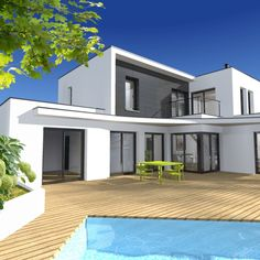 Maison moderne plain pied toit plat 1 plan maison moderne for Local piscine toit plat