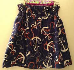 SUMMER SALE Longer Length Navy Anchor Skirt by PreppyPinkShop, $29.99
