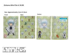 Gintama Mini File A  Anime Character Goods  Size: Approximately 11cm X 16cm