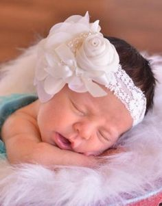 Cream Ivory Vintage Flower Lace Headband with Pearls