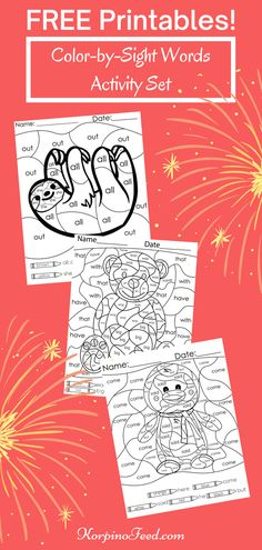Free Color by Sight Words Activity Set. Free Sight Words Color by Sight Words Printables Homeschooling Reading Kindergarten. No prep. Introduce or reinforce sight words. Color-by-Sight Words activity sets are great for morning work to get the mind ready for learning. Keep extras handy for early finishers, small group work and independent practice. Print and Go! How to teach kids how to read. #Kindergartensightwords, #Homeschool, #FunHomeschoolActivities, #homeschoolreading Sight Words Printables, Sight Word Worksheets, Free Printables, Sight Word Activities, Kindergarten Activities, Word Games, Reading Activities, Kids Sight Words, Sight Word Practice