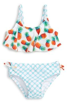 Sol Swim 'Pineapple Disco' Two-Piece Swimsuit (Baby Girls) available at #Nordstrom