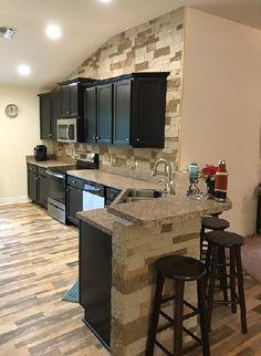 My Autumn Mountain kitchen Airstone Backsplash, Airstone Fireplace, Fireplaces, Diy Kitchen, Kitchen Ideas, Bathroom Flooring, Kitchen Remodel, Building A House, Home Improvement