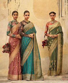 Sabyasachi wedding sarees in peach, blue and green #Frugal2Fab