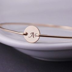 Personalized Birthday Gift Gold Initial Bangle by georgiedesigns, $36.00