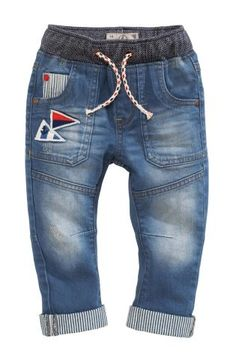 Mid Blue Pull-On Badge Jeans (3mths-6yrs)