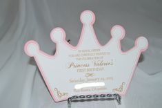 Items similar to Set of 12 Princess Crown Invitations on Etsy Princess First Birthday, Baby Shower Princess, Princess Party, Baby Birthday, Birthday Parties, Girl Shower, Party Printables, First Birthdays, Cardmaking