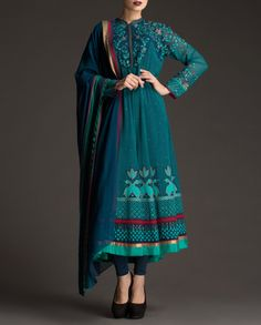 #AMPM Teal Blue Anarkali Suit with Printed Pattern