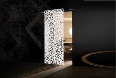 Otta'anta -> Uşă glisantă cu deschidere parţială, pe sistem de glisare Soft Zero la exteriorul peretelui. Suprafaţa este din cristal monolit securizat cu grosime de 10 mm, model Otta'anta, al cărui desen este prelucrat în întregime manual prin tehnica de lăcuire Light & Color în nuanţa White. Mânerele sunt model Swing din inox satinat, cu o lungime de 70 cm. Wall Lights, Lighting, Interior, Home Decor, Appliques, Decoration Home, Indoor, Room Decor, Lights
