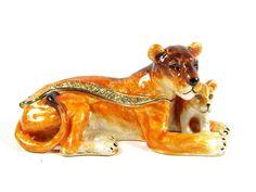 """Lion & Cub"" Jewelled & Enamlled Trinket Box or Figurine #TrinketBox"