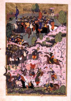 Single Combat at the Battle of Mohacs (1526 CE) (Süleymanname (ca. 16th Century CE Ottoman Miniature) -Matrakçı Nasuh)
