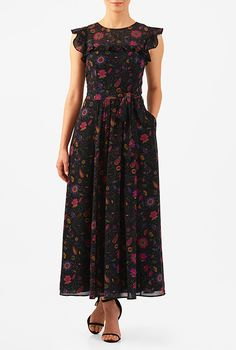 Our floral print georgette dress with a ruffle yoke creates pretty flutter sleeves while a removable sash tie belt cinches in the feminine look.
