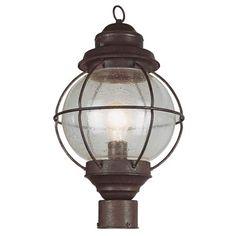 One Light Rustic Bronze Large Onion Outdoor Post Light Trans Globe Lighting Post Mounted O