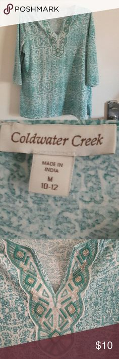 Shirt (Coldwater Creek) This is an adorable V neck shirt. It had silver sequence sewn into the V neck. Coldwater Creek Tops Tees - Long Sleeve