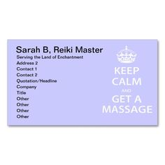 Keep Calm And Get A Massage Appointment Card
