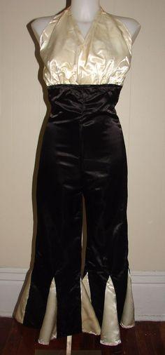 Vintage 1930s 1940s Beach Pajamas Pantsuit Halter Wide Leg Black & Cream Satin #Unbranded #Jumpsuit
