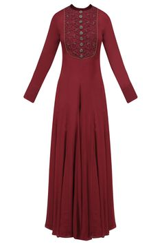 Cherry floral dori and beads embroidered off shoulder jumpsuit available only at Pernia's Pop Up Shop. Designer Gowns, Indian Designer Wear, Beautiful Dresses, Nice Dresses, Off Shoulder Jumpsuit, Modest Wear, Anarkali Dress, Muslim Fashion, Indian Wear