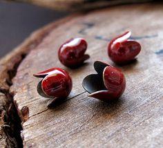 Red Tulip Bead Caps Enamel mini bead caps Flower by NadinArtGlass, $4.00