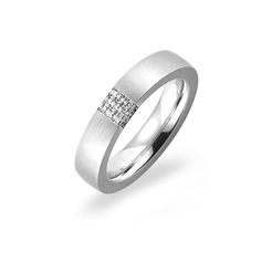 Gorgeous 6mm Wave Wedding Ring with Three Diamonds frpm Woolton