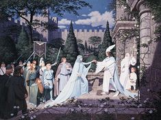 "ARWEN AND ELESSAR BY GREG AND TIM HILDEBRANDT - ""And Aragorn the King Elessar wedded Arwen Undomiel in the City of Kings upon the day of Midsummer, and the tale of their long waiting and labours was come to fulfillment."""